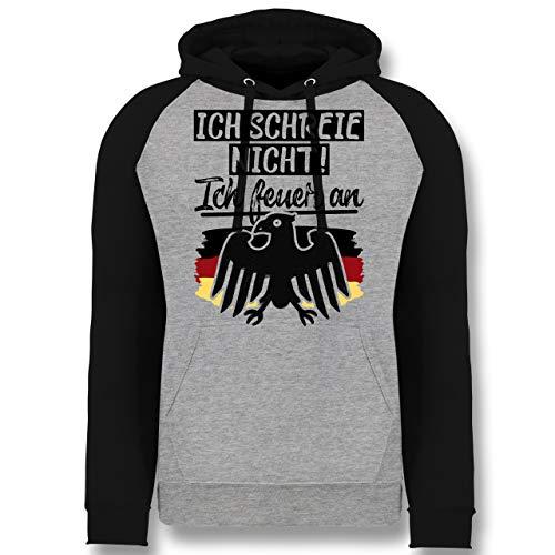 Shirtracer Fußball-Europameisterschaft 2020 - Ich Schreie Nicht! Ich Feuer an - M - Grau meliert/Schwarz - JH009 - Baseball Hoodie