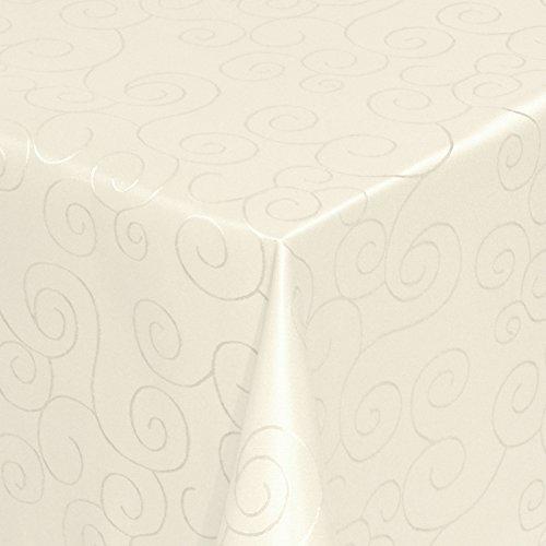Kringel/Circle Tafeldecke Form, Größe & Farbe wählbar- Eckig 130 x 220 cm - Champagner Damast...