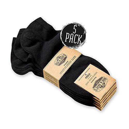 Top Herren-socken (Rob & Dave's Sneaker Socken - 5 Paar - TOP ÖKO TEX Qualität - für Damen & Herren - nahtlose Freizeitsocken in schwarz - ohne drückende Naht - mit venenfreundlichem Komfort-Bund)