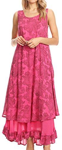 Sakkas 16222 - Paak Hoch Lange Batik Paisely Druck Rüschensaum Gefüttert Kaftan Tank Top Kleid - Pink - S/M