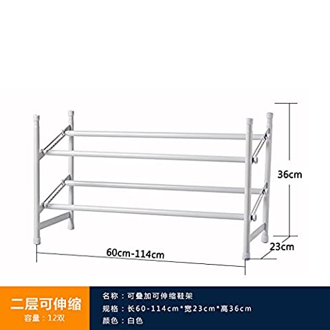 HJFF-The multi-layer shoe rack assembly and folding telescopic creative household shoe heels storage rack simple dormitory,White (two)