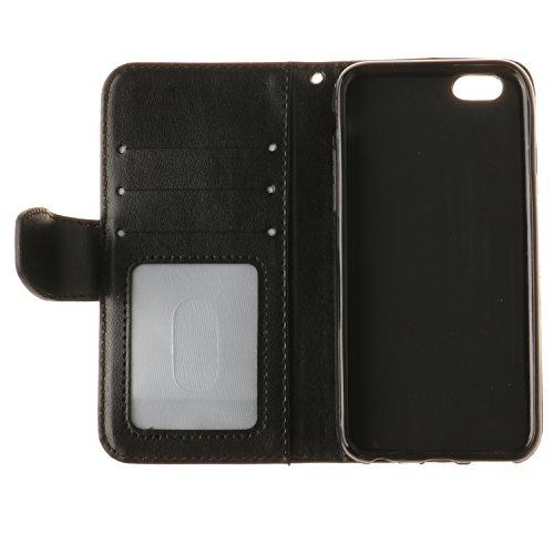 Voguecase Pour Apple iPhone 6 Plus/6s Plus 5,5 Coque, Étui en cuir synthétique chic avec fonction support pratique pour Apple iPhone 6 Plus/6s Plus 5,5 (Maple Leaf-Noir)de Gratuit stylet l'écran aléat Maple Leaf-Noir
