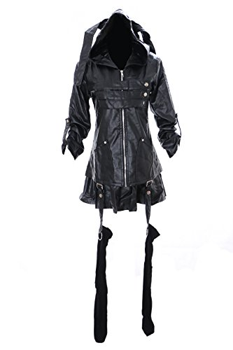 MN-26 Tokyo Ghoul Toka Kirishima schwarz Pu-Leder Punk Gothic Kostüm Set Jacke Bluse Cosplay (Large)