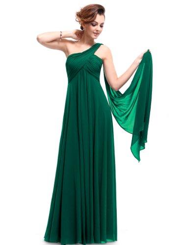 Ever Pretty Damen Lange One Shoulder Chiffon Abendkleider Festkleider 09816 Grün