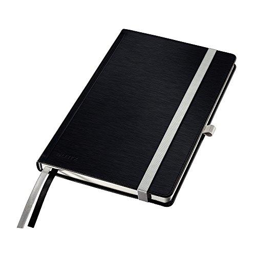 Leitz Taccuino A5 con copertina rigida, 80 fogli, A righe, 2 segnapagina, Carta avorio 100 gr/mq, Nero Satin, Style, 44850094