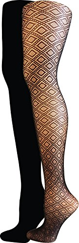 isaac-mizrahi-new-york-womens-diamond-textured-tights-2-pack-black-small-medium