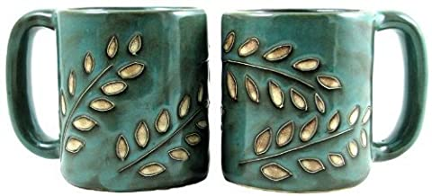 One (1) MARA STONEWARE COLLECTION - 16 Oz Coffee/Tea Cup Collectible Dinner Mugs - Sage Leaves Design by Mara