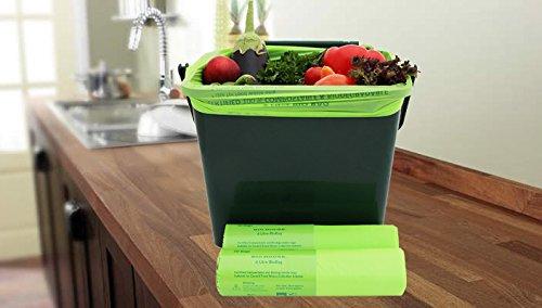 Bio House - 6 Liter X 50 Staubbeutel kompostierbar, biologisch abbaubar Küche Caddy Müllbeutel/Lebensmittelabfälle Kompost Müllbeutel