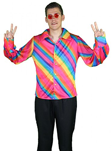 Foxxeo 40223 I 70er Jahre Regenbogen Hippie Hemd | Größe X, M, L, XL, XXL | Hippiekostüm Kostüm Hippie Rainbow Kostüm Flowerpower Disko Party Motto 70s siebziger Disco Fever Herren Herrenkostüm, Größe:XL