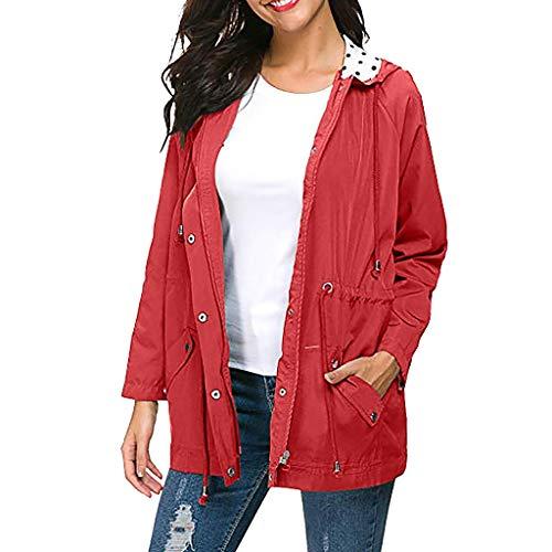 CixNy Jacke Damen Übergröße Sonnencreme Schnürjacke Outdoor Funktionsjacke Sportjacke Wasserdicht Leicht Regenjacke mit Kapuze Regenmantel Frau Mantel (Rot, M) -
