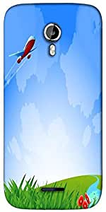 Snoogg an airplane in the sky vecto Designer Protective Back Case Cover For Micromax A117