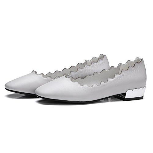Damen Pumps Geschlossene Toe Echtes Leder Flach Schuhe Rutsch Weiß