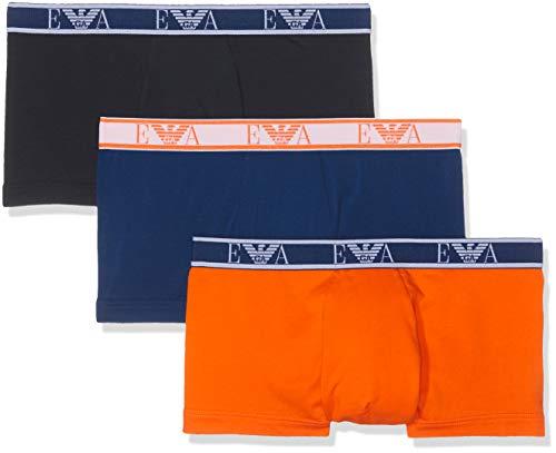 Emporio Armani Underwear Herren 3 Pack Trunk Colored Basics Monogram Badehose, Blau (Marine/Bluette/ARANC 58535), Medium (Herstellergröße:M)