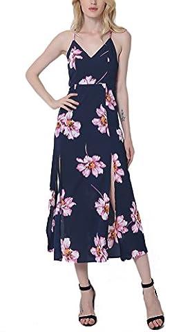 SunIfSnow Women's Summer Beach Chiffon Sexy Backless Floral Print Maxi Long Dresses XL