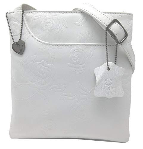 Josephine Osthoff Handtaschen-Manufaktur schmale Ledertasche Madison - Weiß - schmeichelhafter Entwurf Schultertasche cross over - Madison Tote