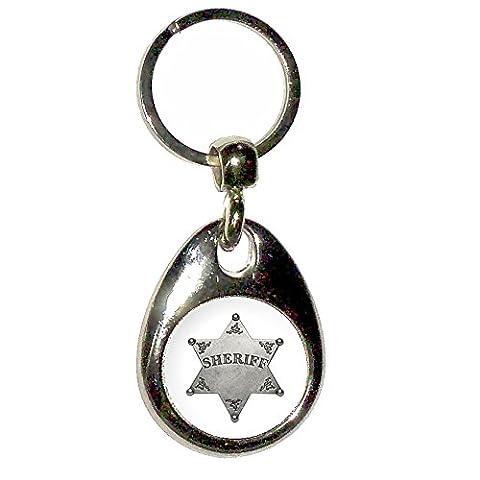 Sheriff Badge - Chrome larme goutte en forme de clé à double face