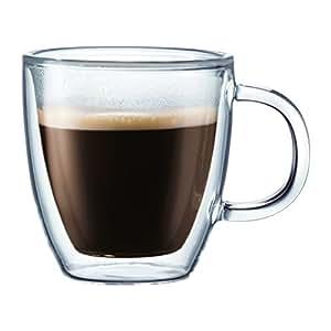 Bodum BISTRO Espresso Mugs Set (Double-Walled, Dishwasher Safe, 0.3 L/10 oz) - Pack of 2, Transparent
