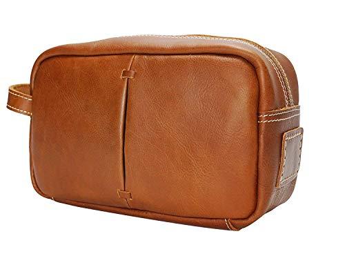 SDFIUH Herren Kosmetiktasche Öl glänzend Leder Retro erste Schicht Lederhandtasche Neutral (Color : Brass, Size : Small)