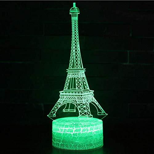 Optische Täuschung Lampe Paris Wahrzeichen Turm Thema 3D Lampe LED Nachtlicht 7 Farbwechsel Stimmung Lampe Riss Touch-Schalter
