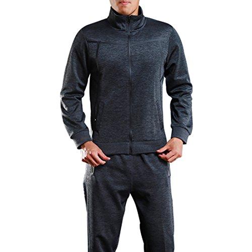 0844e79f620b09 Herren Sport Full Zip Jacke Gym Workout Active Zip Up Sweatshirt Zip  Performance Jacke Grau M