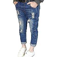 Denim Pantalones para Bebé Niños Suave Cintura Elástica Vaqueros Rotos Moda Primavera Otoño Casuale Denim Jeans para Niñas