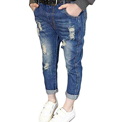 Denim jeans per neonati bambini - comodi vita elastica pantaloni strappati moda casual jeans pantalone con tasche per ragazze