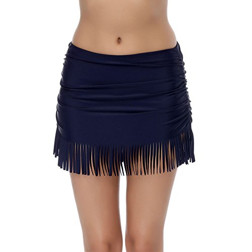 FeelinGirl Damen Faltig Bikinislip Slip Badeshorts Badeslip Bottom Unterteil Panty Höschen Hipster Brazilian Kurze Hose Rüsche Design L Blau