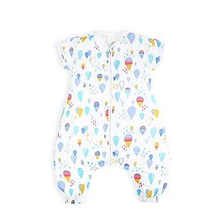 i-baby Saco de Dormir Bebé con Pies Verano Infantil Pijama Manta con Mangas Cortas Algodón Gasa Niños Cómodo Transpirable