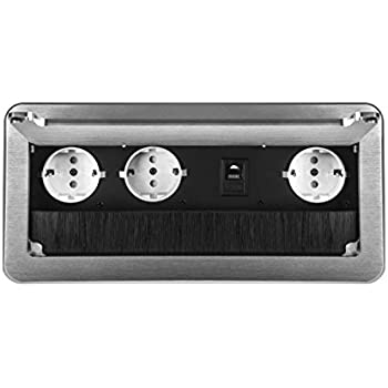 1-Fach + Internet, Schwarz Einbausteckdose versenkbar mit oder ohne USB und in 2 Farben Silber oder Schwarz zum Ausw/ählen
