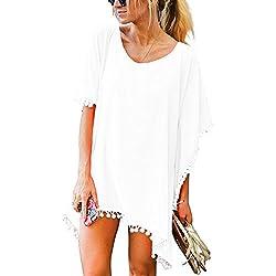 UMIPUBO Mujer Ropa de Baño Suelto Vestido de Playa Borla Verano Camisolas y Pareos Transparente Bikini Cover up (Blanco)