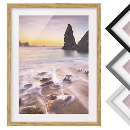Bild mit Rahmen - Spanischer Strand bei Sonnenaufgang - Farbe Eiche, 70 x 50 cm