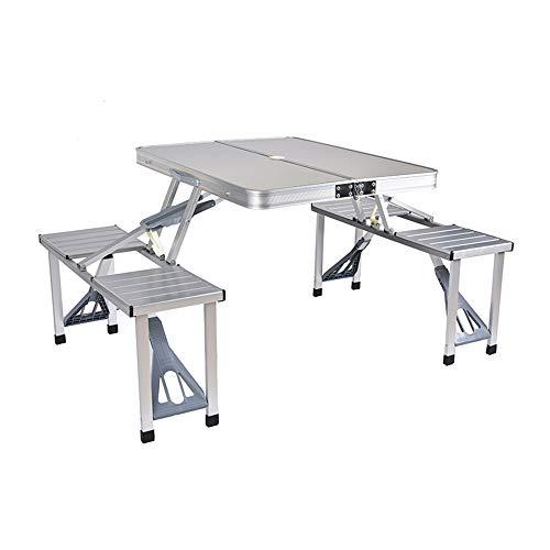 lijunjp Zusammenklappbarer Picknicktisch und Sitzbank, Aluminiumlegierung, tragbarer Schreibtisch mit 4 Sitzen, Schirmloch-Design, für Reisen im Freien, Camping, Picknicks, Angeln, Propaganda