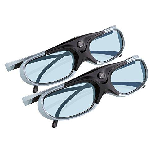 APEMAN 2 x Occhiali 3D DLP serie [disegno leggero] ricaricabile Hi-Luminosità / Hi-Contrast compatibile con Tutti i proiettori DLP 3D