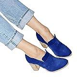 TianWlio Boots Stiefel Schuhe Stiefeletten Frauen Herbst Winter Runde Zehe Wildleder High Heel Schuhe Reine Farbe Stiefel Slip-On Einzelne Schuhe Weihnachten Blau 36