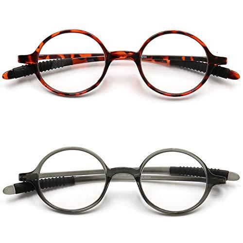 VEVESMUNDO Lesebrillen Damen Herren Lesehilfe Sehhilfe Retro Runde Schmal Flexibel Leicht Nerd Klein Brillen mit Stärke 1.0 1.25 1.5 1.75 2.0 2.25 2.5 2.75 3.0 3.25 3.5 3.75 4.0