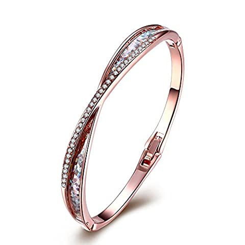 FushoP Classique Rhinestone CZ Crystal Bangle Bracelets (Or rose plaqué)