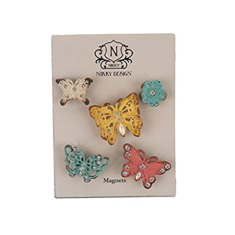 NIKKY HOME Pewter Decorative Shabby Chic Butterfly and Flower Magnets Stickers for Fridge Set of (Frigo Door Bar)