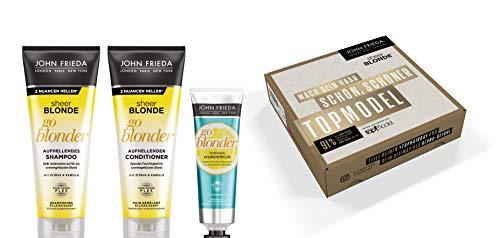 John Frieda Sheer Blonde GNTM Vorteilsset - Shampoo, Conditioner, Wunderkur, 600 ml - Blonde Feuchtigkeits Shampoo