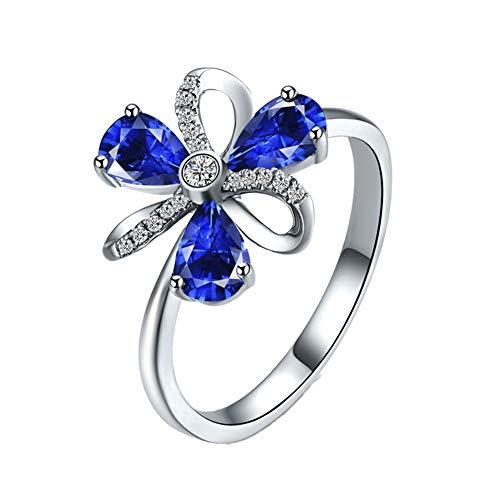 YCGEMS The Sapphire Ring Collection: Damenschmuck aus 18 Karat Weißgold, Echter Saphir und Ewigkeitsring in Diamantkleeform,Q1/2
