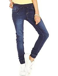 Bestyledberlin Damen Jeans, Slim Fit Baggy Jeans, Boyfriend Pluderhose, Hose Stretchbündchen j53xx