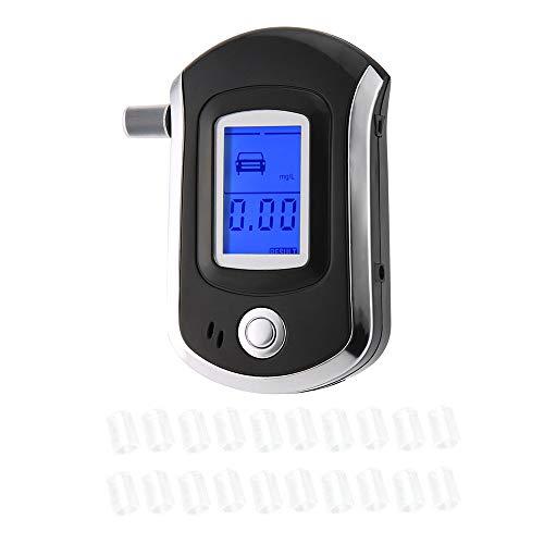 KKmoon Alcoholímetro Digital con 20 Boquillas, Probador Portátil de Alcohol con Pantalla LCD con Aliento...