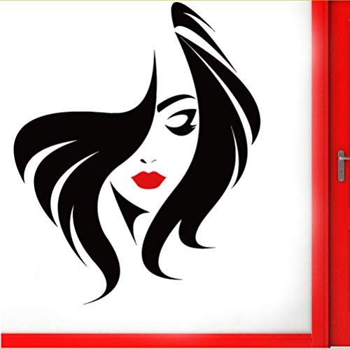 Peluquería Peinado Pared de cristal Puerta Ventana Vinilo Pegatina Salón de belleza Cara de mujer con labios rojos Diy Murales 57 * 70 CM