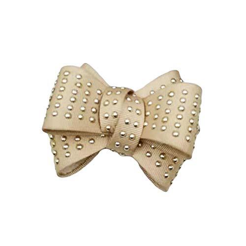La Loria Damen 2 Schuhclips -Rivet Bow- in Beige, Schmuck-Accessoires für Schuhe, Schuhschmuck, Brosche