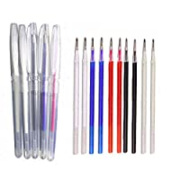 5 Color Heat Erasable Fabric Marking Pens with 15 Refills,5 Piece Set Heat Erasable Refill Pens Disappearing Pen for Quilting, Sewing and Dressmaking