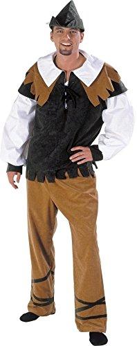 (KARNEVALS-GIGANT Robin Hood Kostüm grün-braun-weiß für Herren | Größe 54 | 3-teiliges Räuber Kostüm | Mittelalter Faschingskostüm für Männer | Waldläufer Verkleidung für Karneval)