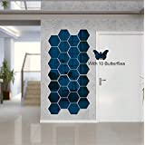 Atulya Arts Mirror Hexagon Decorative Wall Sticker (Pack of 28) with 10 Butterfly Sticker 3D Acrylic Stickers Mirror Wall Sti