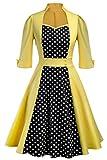 MisShow Damen 1950er Kleid mit Langarm Polka Dots Rockabilly Petticoat Kleid Geld XL