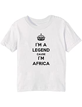 I'm A Legend Cause I'm Africa Bambini Unisex Ragazzi Ragazze T-Shirt Maglietta Bianco Maniche Corte Tutti Dimensioni...