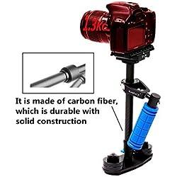 """Estabilizador Portátil de Fibra de Carbono Dazzne 40cm Steadycam Steadycam con placa de Liberación Rápida Tornillo de 1/4 """"para Cámara DSLR Nikon Canon Sony Panasonic de Hasta 3.31 Libras / 1.3Killogram (negro)"""