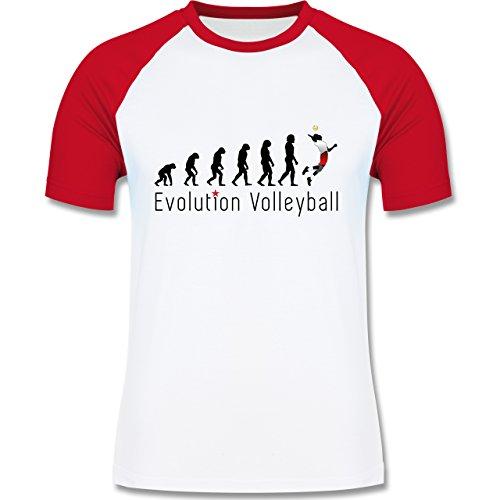 Evolution - Volleyball Evolution - zweifarbiges Baseballshirt für Männer Weiß/Rot